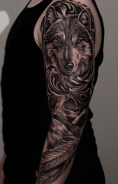 48 Powerful Wolf Tattoo Designs Tribal, Traditional, Lone Wolf Tattoos Here we have great photo about wolf tattoo designs color. Wolf Tattoos, Lone Wolf Tattoo, Animal Tattoos, Body Art Tattoos, Cross Tattoos, Two Wolves Tattoo, Tatoos, Phoenix Tattoos, Half Sleeve Tattoos Designs
