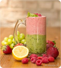 Pink & Green Smoothie by spelonca: This tart, green detoxifying smoothie, made with organic green grapes, spinach, avocado, the juice from one lemon and one half of green apple, is  complemented by the  sweet pink nourishing smoothie made with homemade coconut yogurt, raspberries, strawberries and half a banana.  #Smoothie #Pink #Green #Healthy