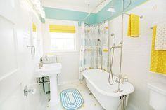 love the aqua + yellow bathroom and the dwell shower curtain.