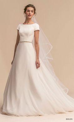 74471c7c7324 bhldn 2018 whispers bridal short sleeve bateau neck simple clean elegant classic  a line wedding dress