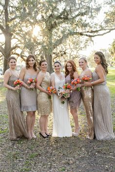 Sequined Bridesmaids /  Greer G. Photography + Kim Starr Wise