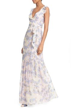 Free shipping and returns on Diane von Furstenberg 'Stephanie' Butterfly Print Silk Maxi Dress at Nordstrom.com. Ethereal pastel butterflies and open metallic spheres float over the surface of this silk maxi dress with a clavicle-baring neckline and femme flutter sleeves.