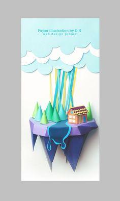 Paper illustration Web design by Denny Nguyen, via Behance: