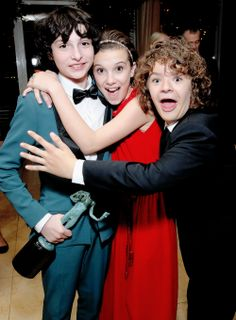 "fionagoddess: ""Noah Schnapp, Millie Bobby Brown and Gaten Matarazzo attend The Weinstein Company & Netflix's 2017 SAG After Party in partnership with Absolut Elyx at Sunset Tower Hotel on January 29, 2017 in West Hollywood, California. """
