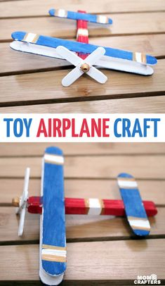 Make this super fun airplane craft - it works as a DIY wooden toy airplane too! I made it for my toddler but big kids can make it too :) It's an adorable flight and travel themed craft for kids airplane Make a wooden airplane toy! Wooden Airplane, Airplane Crafts, Airplane Toys, Toy Craft, Craft Stick Crafts, Fun Crafts, Travel Crafts, Camping Crafts, Crafts For Boys