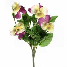 This large artificial Pansy bush with stunning large yellow, purple and white flowers and bright green foliage is ideal for use indoors or outdoors. Purple And White Flowers, Plants Online, Artificial Plants, Bright Green, Orange, Yellow, Pansies, Potted Plants, Seeds