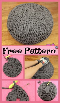 Free crochet floor pouf tutorial with step by step video. Ribbed style floor pouf with easy drawstring insert made from 2 pillow cases. Crochet Pouf Pattern, Knitted Pouf, Crochet Diy, Crochet Home Decor, Crochet Cushions, Crochet Crafts, Yarn Crafts, Diy Crochet Floor Pouf, Crochet Floor Cushion
