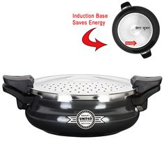Hard Anodized Black Induction Pressure Cookers, Smart pressure cookers with 3 in 1 ( One ) feature i .e acting as Server, Stainer and Cooker to buy and purchase pressure cookers online at cheap rates and prices.