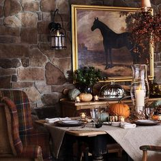 Ralph Lauren, An autumnal tablescape. - Ralph Lauren, An autumnal tablescape. Ralph Lauren Home Living Room, English Country Decor, French Country, French Cottage, Equestrian Decor, Equestrian Style, Autumn Table, Autumn Harvest, Ralph Lauren Style