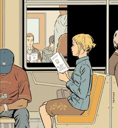 Adrian Tomine - one of my favourite artists. He did the Optic Nerve comic book series, and is regularly featured in and on The New Yorker.