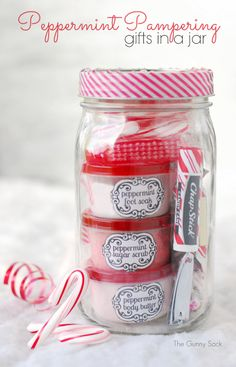 DIY Peppermint Pampering Gifts in a Jar Recipes and Printables from The Gunny Sack here. Another cheap and easy spa gift right down to the c...
