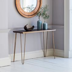 Bronx Contemporary Geometric Tiled Console Table, Gold