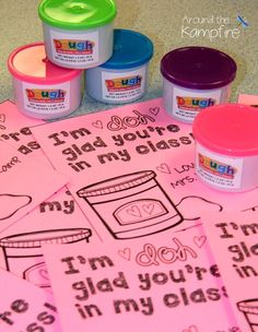 Free class valentines from the teacher to give with PlayDoh from the dollar store!