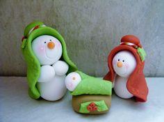 Muñeco de nieve Navidad - arcilla polimérica - Navidad - estatuilla de vacaciones