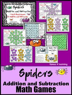 Spiders: Addition and Subtraction Spiders Math Games from Games 4 Learning is a collection of 7 Addition and Subtraction Math Board Games with a Spiders theme.$