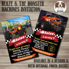 Blaze and the Monster Machines Invitation. by TwoBearsDesigns