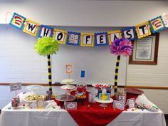 Dr. Seuss YW in Excellence-refreshment table BEFORE we got it loaded with treats