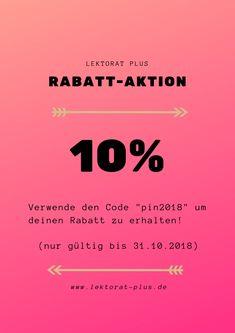 10 %  Rabatt für unsere Dienstleistungen Korrekturlesen und Lektorat. Jetzt einlösen!