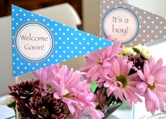 PRINTABLE Blue and Gray Party Flags / Centerpiece Flags. $6.50, via Etsy.