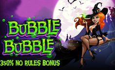 """Jartiyerli ve bol dekolteli cadılar sizleri Bubble Bubble oyunu oynamaya davet ediyorlar! Bubble Bubble, RTG firmasından gelen 5 çarklı ve 50 ödeme çizgili slot oyunudur. Oyundaki semboller cadı """"aksesuarlarından"""" oluşuyor (büyü kitapları, karga, kara kedi). Oyunu bedava oynayıp keyifli zaman geçireceğinizden emin olun!"""