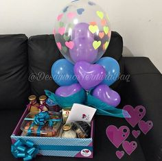 Put a lid on top of box and have balloons and bows. Balloon Box, Balloon Gift, Homeade Gifts, Diy Gifts, Creative Gift Wrapping, Creative Gifts, Candy Packaging, Weird Gifts, Rakhi Gifts