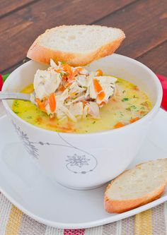 Chicken Soup A La Grec - comforting soup made from scratch, perfect for a cold day. use greek yogurt or coconut cream instead of sour cream Soup Recipes, Healthy Recipes, Yummy Recipes, Free Recipes, Soup Kitchen, Soup And Sandwich, Greek Chicken, Creamy Chicken, Chicken Soups