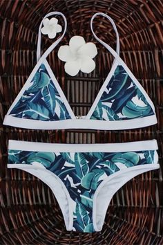 High-Cut Leaf Print Bikini Set GREEN: Bikinis | ZAFUL