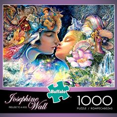 """A magic moment - the frozen frame in time of the powerful emotion of a first kiss."" - Josephine Wall  Prelude to a Kiss - 1000 Piece Jigsaw Puzzle. Buffalo Games. Measures 26.75"" x 19.75"" when complete. Artwork by Josephine Wall. Bonus Poster included!  #josephinewall #josephine #wall #art #paintings #colorful #fantasy #romance #jigsaw #puzzle #jigsawpuzzle #puzzlewarehouse #buffalogames"