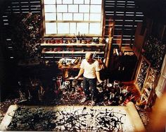 """Pollock in his studio.  Quote from source:  """"I was told by a very keen girl that the hardwood floor in Pollock's studio still has the paint splatters and blots for everyone to see."""""""