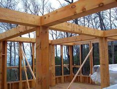 In a more traditional sense, this  image illustrates frame through the heavy timber frame being constructed on this home.