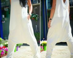 Loose jumpsuit, women's jumpsuits overalls, oversize pants, white ladies jumpsuits, summer clothing, plus size jumpsuits, low drop crotch
