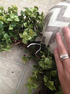 Easy Garland Wreath - The 15 Minute, 15 Dollar Wreath Boxwood Wreath Diy, Diy Wreath, Wreath Ideas, Chevron Bow, Chevron Burlap, Green Garland, Green Wreath, Christmas Crafts For Gifts, Christmas Wreaths