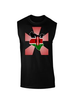 Kenya Flag Silhouette Distressed Panel Dark Adult Apron  Kenya
