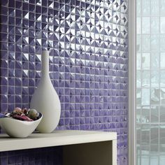 Wall tile, Crono by Mosaico+ Handmade tiles can be colour coordinated and customized re. shape, texture, pattern, etc. by ceramic design studios