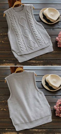 A twist knitting vest to get with 7 Days delivery&easy return! This ribbed…
