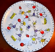 Bug thumbprint platter...great for Silent Auction.