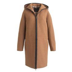 Stadium-cloth hooded zip coat