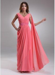 A-Line/Princess V-neck Floor-Length Chiffon Charmeuse Evening Dress With Ruffle (017022552)