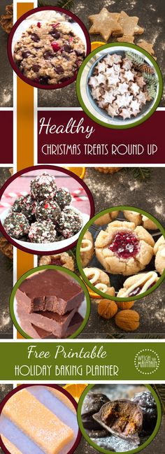Seven healthy versions of classic Christmas cookies, fudge and treats. All gluten free. Includes free printable Holiday Baking Planner!