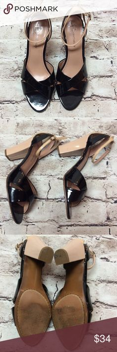 """SZ 8.5 B. MAKOWSKY PATENT LEATHER HEELS/SHOES Beautiful heels in a tri- color block style. 4"""" heel and straps around the ankle. They are in gently used condition with a couple of vague marks on the heels as shown in pic. b. makowsky Shoes Heels"""