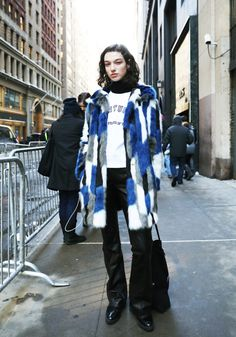oversized wool blue, white, navy, gray coat + white shirt + black patent leather flare jeans pants + oxfords + black turtleneck sweater