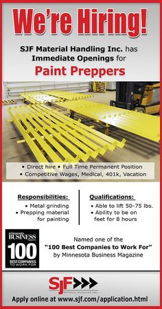 SJF Material Handling Inc. has immediate openings for Paint Preppers. Direct…