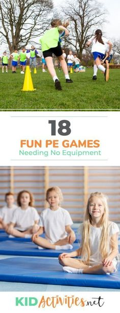 A collection of fun PE games needing no equipment. These games are a great combination of fun and exercise. A collection of fun PE games needing no equipment. These games are a great combination of fun and exercise. Pe Games Elementary, Elementary Physical Education, Physical Education Activities, Pe Activities, Movement Activities, Health Education, Elementary Schools, Kids Education, Nutrition Activities