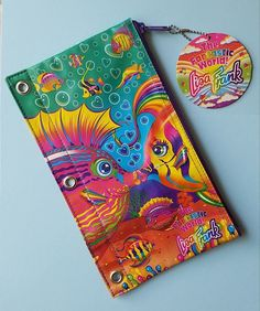 Lisa Frank Pencil Holder Pouch for 3 Ring Binder with Tags - Rare #LisaFrank
