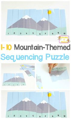 Make a math game for appropriate level math problem solutions. Number sequencing is an important skill for young kids to learn. Make it fun with this mountain-themed sequencing puzzle printable for early learners! Educational Activities For Kids, Montessori Activities, Preschool Learning, Toddler Activities, Preschool Activities, Motor Activities, Math For Kids, Puzzles For Kids, Fun Math