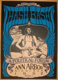 Hash Bash 1992 Ann Arbor - silkscreen poster by Mark Arminski