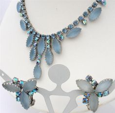 Vintage Juliana AB Rhinestone Set Necklace Earrings Blue Satin Sapphire D E | eBay