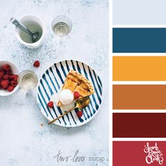 Colors inspired by pie - Red, mustard, blue