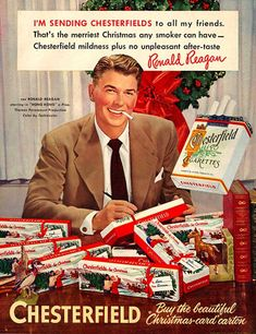 Vintage Christmas Ad for Chesterfield Cigarettes. With actor, Ronald Reagan. later to be President of the United States.