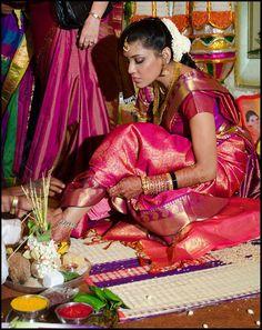 South Indian bride. Temple jewelry. Jhumkis.Pink silk kanchipuram sari.Braid with fresh jasmine flowers. Tamil bride. Telugu bride. Kannada bride. Hindu bride. Malayalee bride.Kerala bride.South Indian wedding